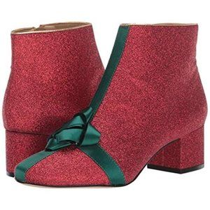 Katy Perry The Gifter Red Glitter Green Bow Bootie